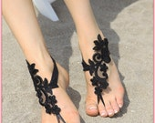Handmade lace sandals, Bridal barefoot sandals, Bridal lace Foot Jewelry, black fwedding sandals, lace barefoots, bridesmaid gift ideas