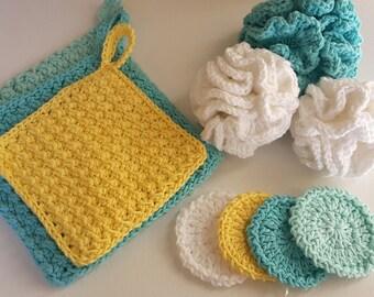 PDF Crochet Pattern to make your own Spa Bath Scrubbies Set