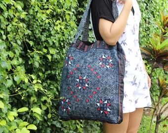 Batik Shoulder Bag Flat Strap With Hemp Fabric
