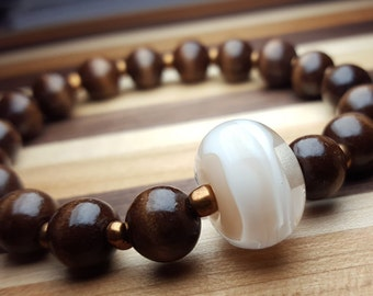 Tan and white planetary bead bracelet (Large)