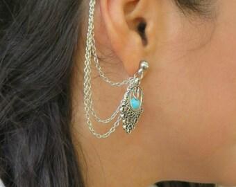 Silver Ear Cuff Earring, Turquoise Bohemian Cuff Earring, Ear Cuffs, Ethnic Boho Ear Cuff Earring, Stud Ear Cuff Earring, Bohemian Jewelry