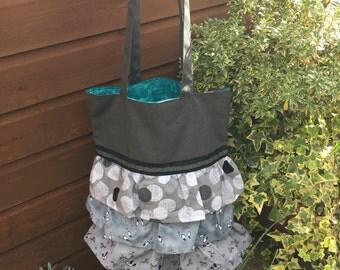 Chloe Ruffle Tote Bag, Handbag, Shopper, Day Bag, Shoulder Bag, Grey Canvas, Pretty, Ruffles, Ribbon, Handmade in the UK