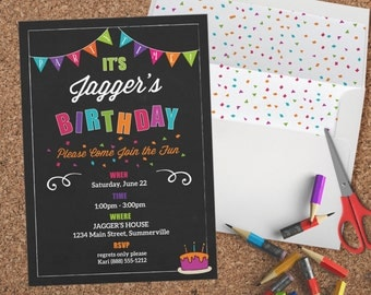 Printable - Kids Birthday Invitation - Chalkboard Party Time with Envelope Liner