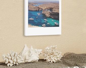 "Custom Polaroid Style Cotton Canvas Print with Copyright Photograph of Malta - ""Into the Blue"", 3 sizes available, Custom Wall Decor Idea"