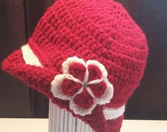 Baby Girls Flapper Hat with brim & attached Double Flower