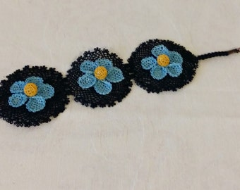 Womens Bracelet made from Needlework Lace Turkish Oya - Black with Blue Flowers / Gift for Her