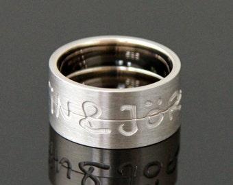Wedding rings ENGRAVED white gold 8 k or 14 k