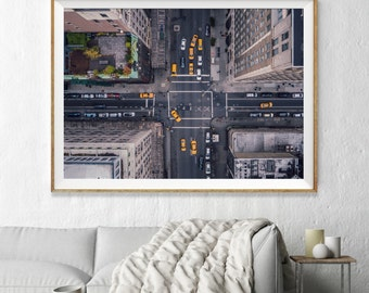 New York City 5th Avenue Aerial Photography, Large Wall Art Decor, Colour Fine Art Photography, Art Prints, USA, Yellow Taxi, America