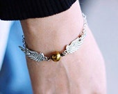 Snitch Bracelet    Quidditch, Harry Potter Jewelry, Potter Jewellery, Geek Gifts, Unusual Gifts, Hogwarts, Gifts for Her, Gifts for Women