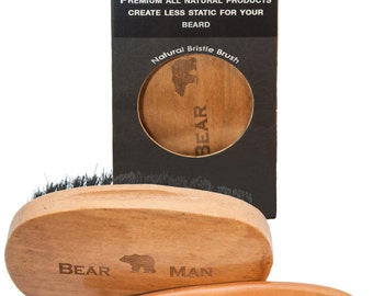 Beard Grooming Kit with Natural Anti-Static Wood Comb & Boar Bristle Brush with Bear Man Logo Great Gift for Rugged Men. Best with Beard Oil
