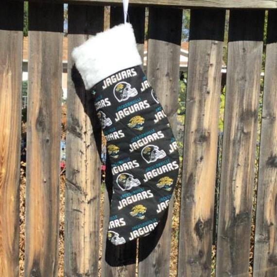 Handmade Christmas Stocking Jacksonville Jaguars white cuff, Unique holiday gift décor. custom football christmas stocking. gift under 10