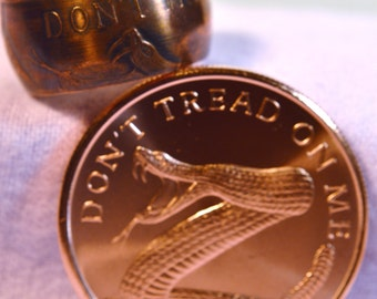 Beautiful 'DONT TREAD On ME' Large  Copper Coin Ring