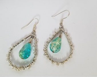 Blue green ombre and silver dangle earrings