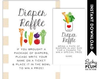 Locally Grown Diaper Raffle / Farmer's Market Diaper Raffle / Fruit Vegetable Diaper Raffle / Rustic Diaper Raffle / DIY Printable