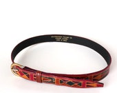 vintage leather belt, hand dyed, made in India . womens skinny belt size medium . 29 - 33 inch waist