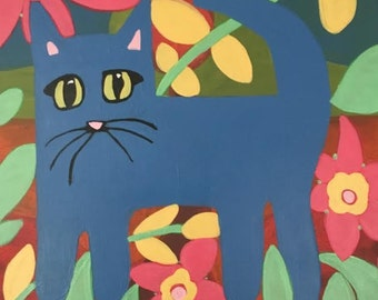 Blue Cat Painting,Children's Art,Nursery Wall Art ,Baby's Room Decor,Canvas,Folk Art
