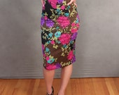 READY TO SHIP Limited Edition Oriental Floral Print Pencil Skirt