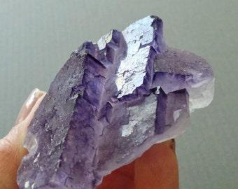Raw Chunky Healing Crystal Purple Fluorite Double Pyramid Mineral Specimen