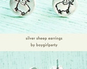Knitter Gift - Little LAMB Earrings Sheep Earrings by boygirlparty - Sheep Stud Earrings cute lamb stud earrings sheep jewelry knitter gift