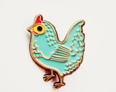 Chickens Pin Chicken Enamel Pin Chicken Brooch Blue Hen Jewelry Blue Brooch Chicken Pin Chicken Jewelry