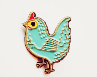 Chickens Pin Chicken Enamel Pin Chicken Brooch Blue Hen Jewelry Blue Brooch Chicken Pin Chicken Jewelry backyard chickens pin