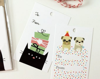 Cat and Pug Gift Tag Set - Birthday Christmas Gift Tags, 2 Designs - Pack of 10 with Twine, Stocking Stuffer, Cute Gift Tags, Cute Gift