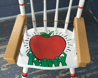 Keith Haring Inspired Hand Painted High Chair Health Love & Happiness Baby Shower