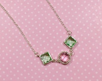 Faux Gemstone Necklace, Layering Necklace, Acrylic Gemstone Necklace, Pink and Mint Green Necklace, Spring Necklace, KreatedbyKelly
