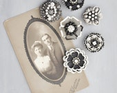 6 Rhinestone Flower Magnets -  black and silver flowers - recycled vintage jewelry and junk - strong refrigerator magnet set