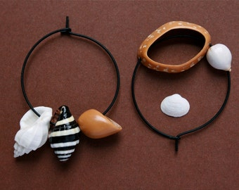 mismatch earrings with sea shells and nut shell - organic ethnic jewelry - asymmetrical black hoops
