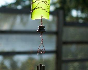 Wind Chime Sea Glass and Beach Stone with Brass Chimes windchime sun catcher