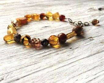 Brown beaded bracelet - brown glass bead bracelet - adjustable size bracelet