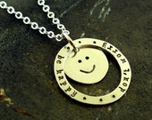 Don't Worry Be Happy, sterling silver charm necklace by Kathryn Riechert