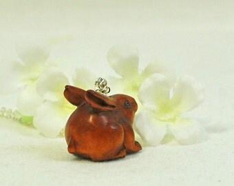 Ojime Rabbit Necklace Bertha the Beautiful Big Butt Bunny - Bunny Necklace - Rabbit Jewelry - Bunny Jewelry - Woodland Animal -Bunny Pendant
