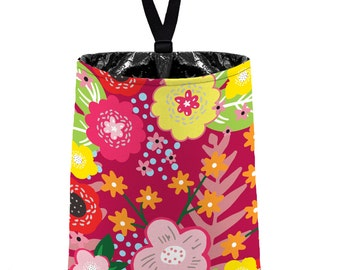 Car Trash Bag // Auto Trash Bag // Car Accessories // Car Litter Bag Car Garbage Bag - Floral Burst Raspberry Car Organizer Flower Pink