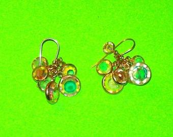 Vintage 1970s Iridescent Crystal Cluster Dangle Drop Earrings