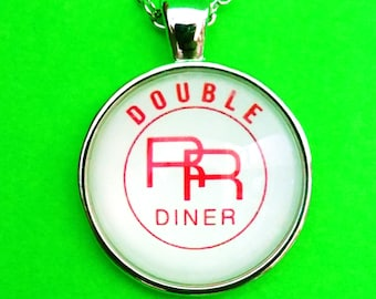 Twin Peaks Double R Diner Sign David Lynch Laura Palmer Silver Bubble Glass Pendant Necklace