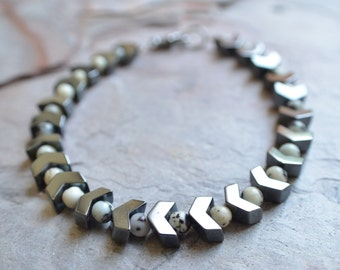 The Diwali- Black and White Jasper and Hematite Men's Bracelet