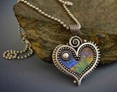 Silver heart pendant necklace Fresh Water Pearl iridescent faux opal polymer clay purple green yellow Valentines heart