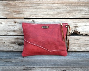Medium  Red Leather Zipper Pouch  / Raw Edge  Zippered Purse /  Phone Case / Camera Wristlet / Leather Clutch For Fall