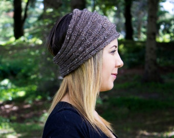 Taupe Headband - Panta Finnish Headband - Ear Warmers - Boho Headband - Hair Accessory - Acrylic Hand Knit - Brown Hair Band - Gift For Her