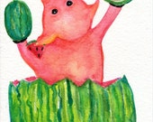 Happy Pig with Watermelons Watercolor, Original pig art painting, 5 x 7