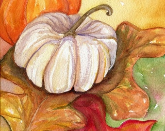 Pumpkins Watercolor Painting Original, white and orange pumpkins, Autumn leaves, Fall decor, SharonFosterArt Farmhouse decor