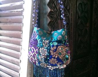 The Blues Bag, Beaded, Embroidered, Velvet, Fringe, Bohemian, Purse, Purple, Sparkly, Dance Bag