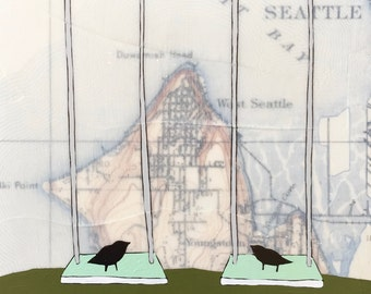 Elliott Bay / 8 x 8 Map Painting / Seattle Art / Map Art / Modern Decor / Wedding Art / Bird Art / Swing / West Seattle / Rachel Austin