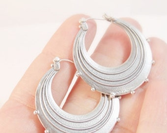 Silver Earrings, Sterling Silver Hoop Earrings, Round Silver Earrings, Silver Hoops, Large Raindrop Earrings, Handmade Earrings
