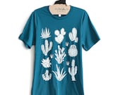 Unisex Small-  Dark Teal Tee with Cactus Screen Print