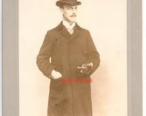 Vintage Victorian man bowler hat dapper gentleman photo antique