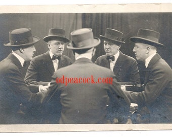Seance trick photography multiple view bowtie antique real photo postcard oddity