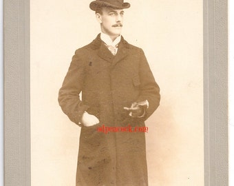 Vintage Victorian man bowler hat dapper gentleman photo antique